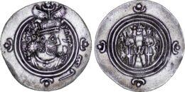 Sasanian Kingdom. Khusrau II AD 590-628 . ARDrachm, BYSH (Bishapur) Mint, Date 26