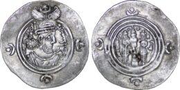 Sasanian Kingdom. Khusrau II AD 590-628 . ARDrachm, BN (uncertain mint in Kirman) Mint, Date 27